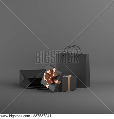 Black Friday Sale Background Decoration With Shopping Bag, Gift Box, Copy Space Text, Template, 3d R