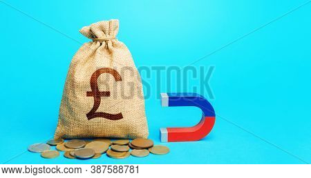 British Pound Sterling Money Bag And Magnet. Raising Funds And Investments In Business Projects And