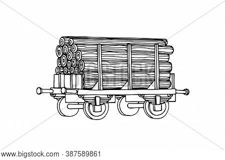 Industrial Freight Railroad Wagon For Wood & Lumber, Logistic, Railway Cargo Transportation, Vector