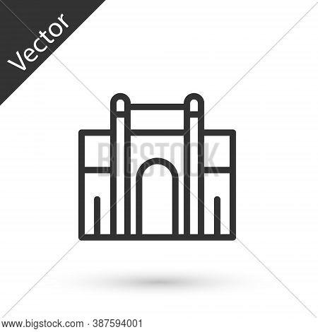 Grey Line India Gate In New Delhi, India Icon Isolated On White Background. Gate Way Of India Mumbai