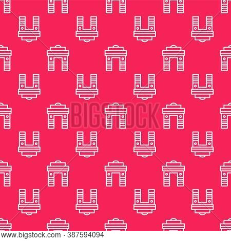 White Line India Gate In New Delhi, India Icon Isolated Seamless Pattern On Red Background. Gate Way
