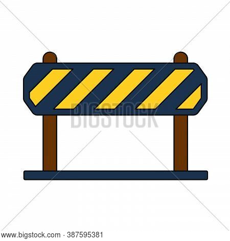 Icon Of Construction Fence. Outline With Color Fill Design. Vector Illustration.