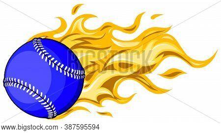 Flaming Baseball Softball Ball Vector Cartoon Burning With Fire Flames