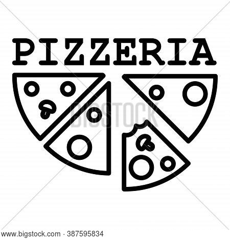 Pizzeria Logo Sketch. Logo Design For Your Pizzeria Or Restaurant Menu. Linear Drawing Of Pizza And