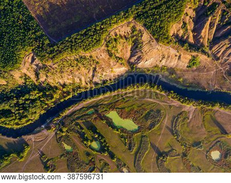 Aerial View Directly Above To Valley Of Siverskyi Donets River Near Zmiiv With Lakes, Hills And With