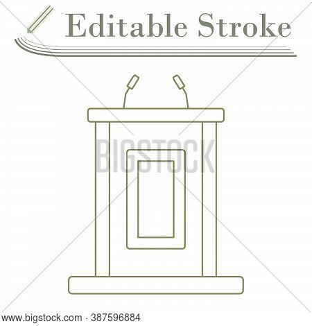 Witness Stand Icon. Editable Stroke Simple Design. Vector Illustration.