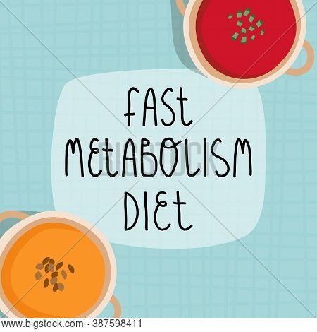 Fast Metabolism Diet Banner Template. Tartan Tablecloth With Vegetables Cream Soups In Bowls, Pumpki