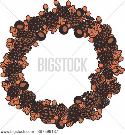 Autumn Wreath Illustration With Pinecones, Leaves, Conkers, And Acorns. Surface Print Design For Lab