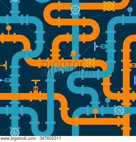 Pipeline Seamless Pattern. Intertwining Blue And Orange Pipes With Valves And Manometers. Vector Ill
