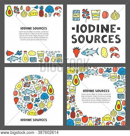 Set Of Cards With Lettering And Doodle Colored Iodine Food Sources Including Cod, Tuna Fish, Salt, B
