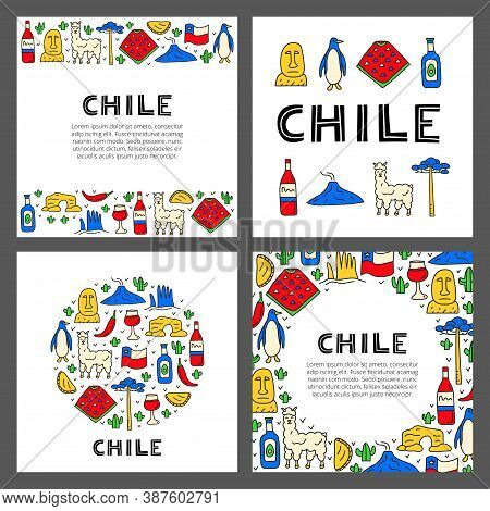 Set Of Cards With Lettering And Doodle Colored Chile Icons Including Easter Island Statue, Villarric