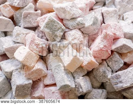 Turkish Delight With Powdered Sugar. Rahat Lokum, Traditional Turkish Sweets, Turkey.