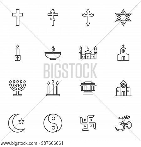 Religion Related Line Icons Set, Outline Vector Symbol Collection, Linear Style Pictogram Pack. Sign