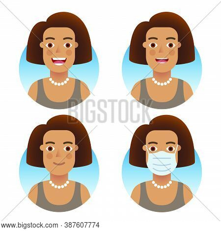 Avatars For Business And Social Media Accounts Set. Swarthy Fluffy Hairstyle Girl, Various Emotions: