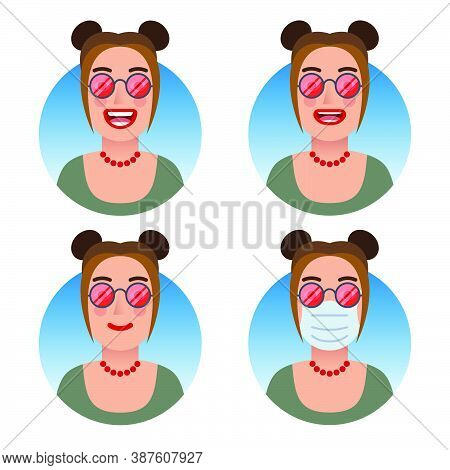 Avatars For Business And Social Media Accounts Set. Woman With Red Lenses Glasses. Various Emotions: