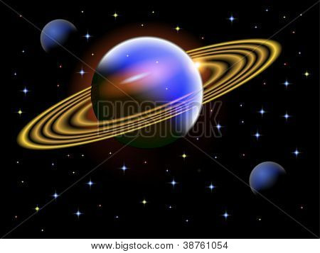 A vector illustration of a space scene with a large ringed planet saved in EPS10.