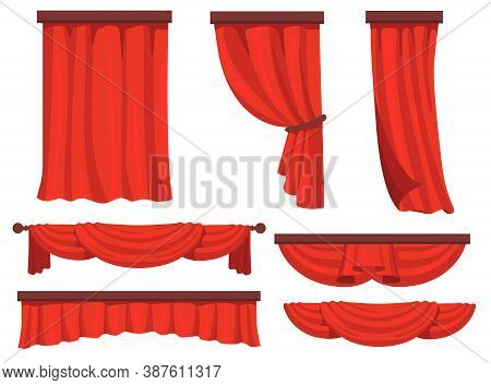 Stage Red Curtains Flat Set For Web Design. Cartoon Fabric For Background Drapery In Movie Or Opera