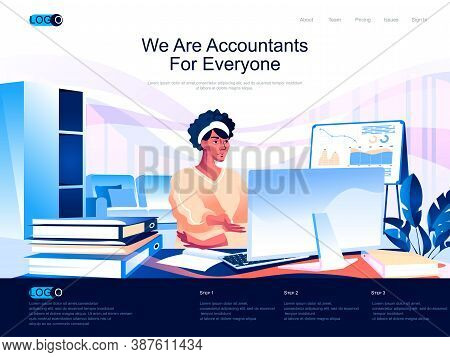 We Are Accountants For Everyone Isometric Landing Page. Business Accounting, Financial Audit Isometr