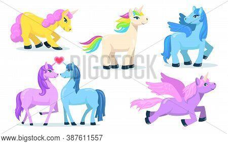 Little Cute Pegasus And Unicorn Flat Set For Web Design. Cartoon Magic Ponies For Princess Isolated