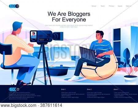 We Are Bloggers For Everyone Isometric Landing Page. Content Production, Video Blogging Isometry Web