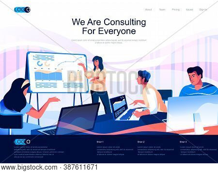 We Are Consulting For Everyone Isometric Landing Page. Business Assistance And Expertise Isometry We