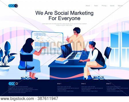 We Are Social Marketing For Everyone Isometric Landing Page. Marketing Research, Smm And Seo Isometr