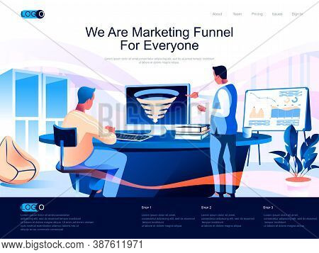 We Are Marketing Funnel For Everyone Isometric Landing Page. Marketing Research, Strategy Planning I
