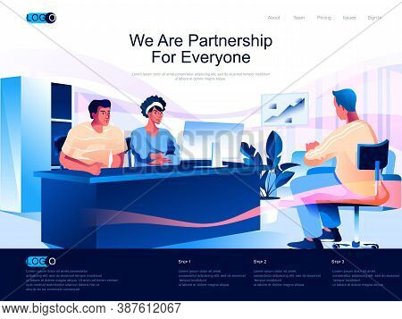 We Are Partnership For Everyone Isometric Landing Page. Business Conversation Isometry Website Page.