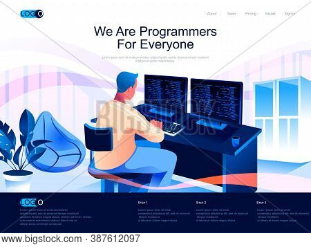 We Are Programmers For Everyone Isometric Landing Page. Software Development Skills Isometry Website