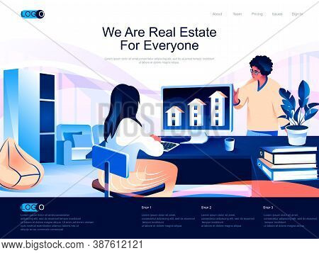 We Are Real Estate For Everyone Isometric Landing Page. Real Estate Agency, Buy, Rent And Mortgage S