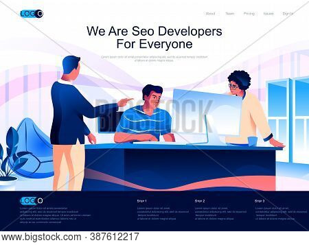 We Are Seo Developers For Everyone Isometric Landing Page. Search Engine Optimization Isometry Websi