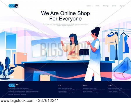 We Are Online Shop For Everyone Isometric Landing Page. Customer Consultation In Store Isometry Webs