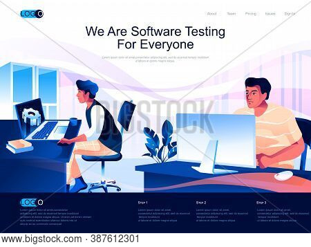 We Are Software Testing For Everyone Isometric Landing Page. Testing And Quality Assurance Isometry