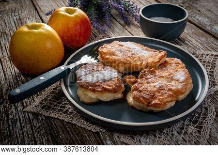 Sweet Pancakes Made Of Apple, Milk And Flour (racuchy)