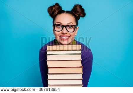 Photo Of Pretty Student Lady Two Funny Buns Leaning Head Chin Books Pile Diligent Pupil Visit Librar