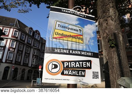 Herne, Germany - September 17, 2020: Election Posters Of Pirate Party (european Pirates) Before Runo