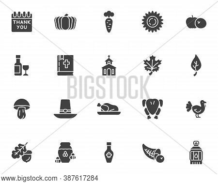 Thanksgiving Day Vector Icons Set, Modern Solid Symbol Collection, Filled Style Pictogram Pack. Sign