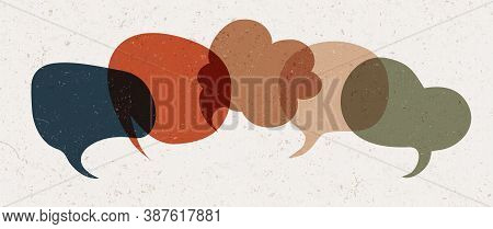 Colored Speech Bubble. Communication Concept. Colored Cloud. Speak - Discussion - Chat. Symbol Talki
