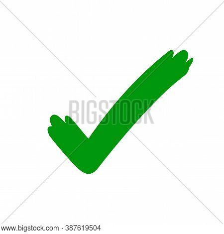 Tick Check Mark Icon Green, Checkmark Icon For Voting, Green Approval Tick, Hand Drawn Check Sign Do