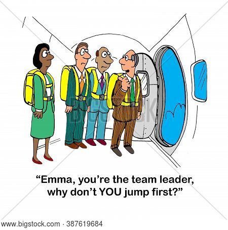 A Male Team Member Asks The Female Team Leader To Parachute From Plane