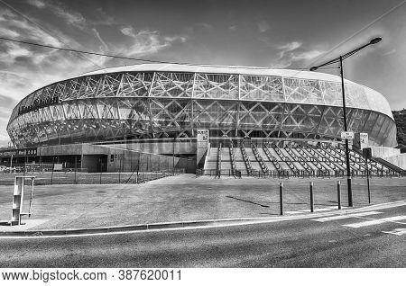 Nice, France - August 16: Exterior View Of Allianz Riviera Stade De Nice, Cote D'azur, France, On Au