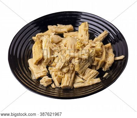 Soy Asparagus Noodles On Black Plate, Isolated On A White Background. Healthy Food . Asian Food. Soy