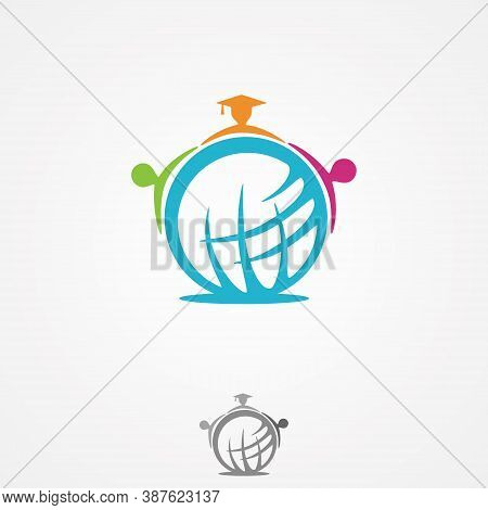 Globe Icon With People In Abstract Style From Education Collection Symbol. Global Education Icon Tre