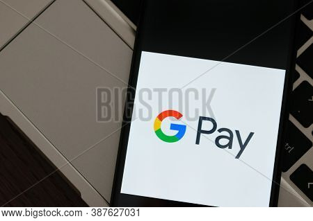 Krakow, Poland - September 30, 2020: Gpay Application Sign On The Screen Smartphone. Google Pay Is A