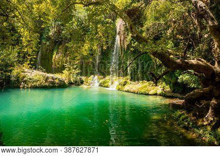 Kursunlu Waterfall Near Antalya City In Turkey, Beautiful Nature Travel Background, Autumn Time