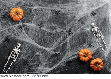 Halloween Flat Lay Composition. Spider Web, Pumpkins, Skeletons, Spiders On Black Background. Happy