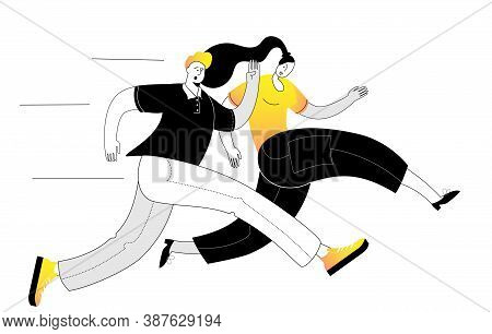 A Girl Runs With A Young Man. Vector Illustration On The Theme Of Rivalry Between A Man And A Woman.