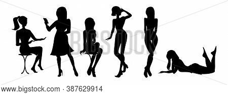 Set Of Black Silhouettes Of Woman Posing. Girls Standing, Sitting On A Stool, Lying. Female Sign. Gi