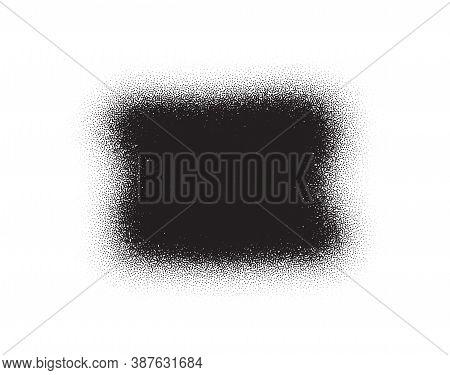 Dotwork Stain Pattern. Brush Stroke Paint. Sand Grain Effect. Black Noise Stipple Dots. Abstract Noi