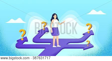 Future Path Choice. Confused Woman With Question Marks. Right Way Choice Design. Search Career Strat
